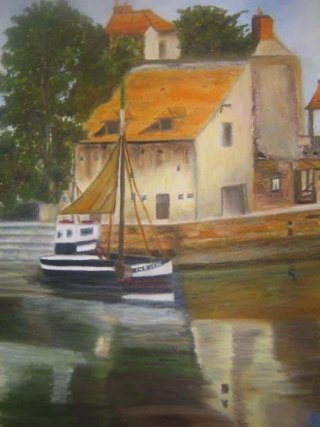 PAINTING Honfleur port bateaux Normandie Marine Peinture a l'huile  - Honfleur