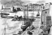 tableau marine port marseille ancien vieux6port : l'ancien bassin de carénage