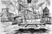 tableau villes transbordeur marseille ancien vieuxport : le transbordeur