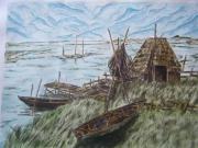 tableau marais barque vert : MARAIS