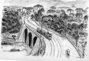 tableau marseille pont tramway aquarelle : le pont de la fausse monnaie