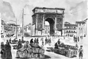 tableau villes ported aix marseille ancien lavis : LA PORTE D'AIX