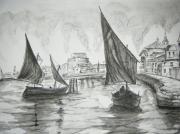 tableau marine voilier port mer lavis : PORT