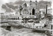 tableau marine marseille lavis ancien port : canal st-jean de la joliette