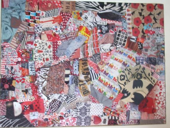 TABLEAU PEINTURE art pop customisation collage art de rue Collage  - RED POWER