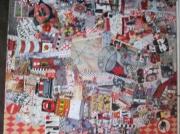 tableau abstrait art pop collage customisation art de rue : CRAZY DAY