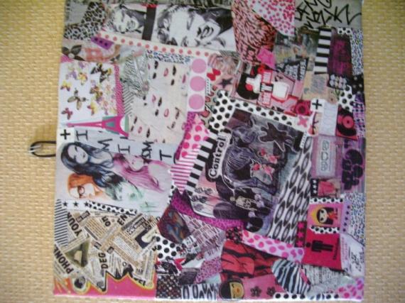 TABLEAU PEINTURE art pop collage customisation art de rue Collage  - ROSE'N ROLL