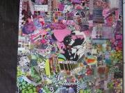 tableau autres art pop collage cutomisation art de rue : GREEN PINK