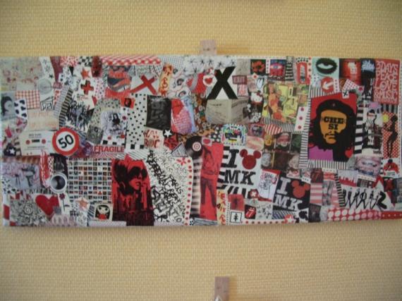 TABLEAU PEINTURE art pop collage cutomisation recyclage Collage  - NO PASARAN