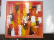 tableau abstrait moderne abstrait contemporain : centre d'interet (vendu)