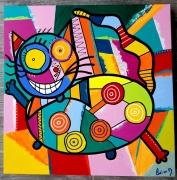 tableau abstrait : Happy cat