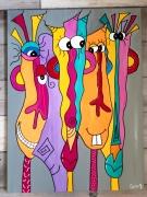 tableau abstrait moderne abstrait contemporain : Le bonheur d'être ensemble