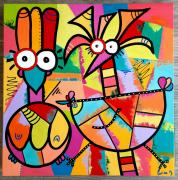 tableau abstrait : Crazy poulettes