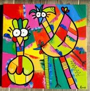 tableau abstrait : Cocottes colorées