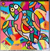 tableau abstrait : Crazy turtle