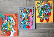 tableau abstrait : Les imbéciles heureux