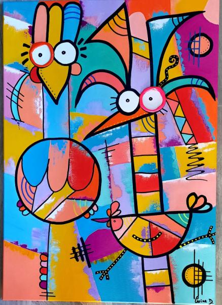 TABLEAU PEINTURE Abstrait Acrylique  - Les crazy chickens