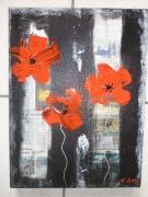 tableau abstrait coquelicot modene abstrait contemporain : three poppies (vendu)