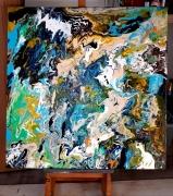 tableau abstrait moderne abstrait bleu : Douceur d'un matin d'été