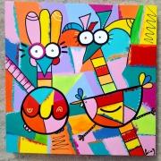 tableau abstrait : Les poulettes 2