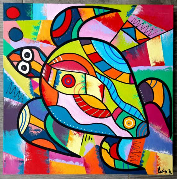 TABLEAU PEINTURE Abstrait Acrylique  - Tortue
