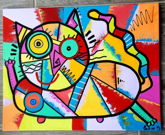 TABLEAU PEINTURE Abstrait Acrylique  - Crazy cat
