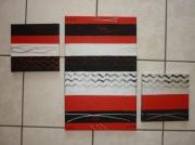 tableau abstrait moderne abstrait contemporain tryptique : en rouge et noir