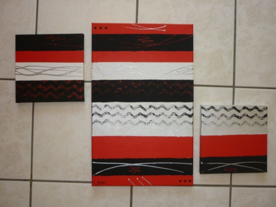 TABLEAU PEINTURE moderne abstrait contemporain tryptique Abstrait Acrylique  - en rouge et noir