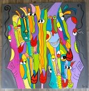 tableau abstrait : La joyeuse troupe