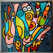 tableau abstrait : Jolie équipe