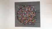 tableau abstrait moderne abstrait contemporain gris : La vie en rose
