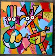 tableau abstrait : Les poulettes 3