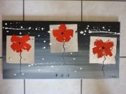 tableau fleurs abstrait moderne contemporain coquelicot : bonne mine (vendu)