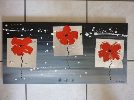TABLEAU PEINTURE abstrait moderne contemporain coquelicot Fleurs Acrylique  - bonne mine (vendu)
