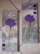 tableau fleurs abstrait moderne contemporain violet : fleurs des champs (vendu)