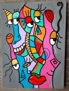 tableau abstrait : les imbéciles heureux 3