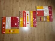 tableau abstrait abstrait moderne contemporain rouge : tryptique jaune