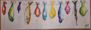 tableau animaux poissons couleurs vives humour joie : poissons pendus