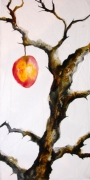 tableau paysages arbre fruit encre gesso : le fruit défendu