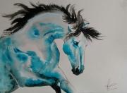 dessin animaux cheval mouvement bleu encre : joie