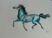 dessin animaux animal bleu cheval equestre : insouciance