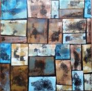 tableau abstrait geometrique acrylique matiere couleurs : pièges à idées noires