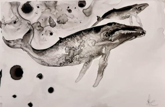 TABLEAU PEINTURE baleine océan encre yupo Animaux Encre de Chine  - baby whale