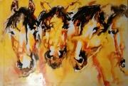tableau animaux cheval encre peinture couleur : les frères