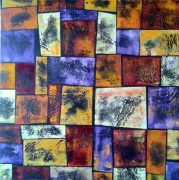tableau abstrait carres couleur matiere abstrait : pièges à idées noires 2