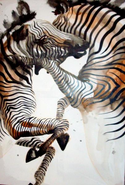 TABLEAU PEINTURE combat zebres encres chine Animaux Encre de Chine  - zebres combat
