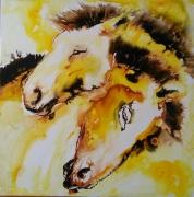 tableau animaux chevaux portrait encres couleurs : les frères