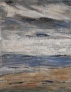 tableau marine plage ciel nuages marine : jour de brume