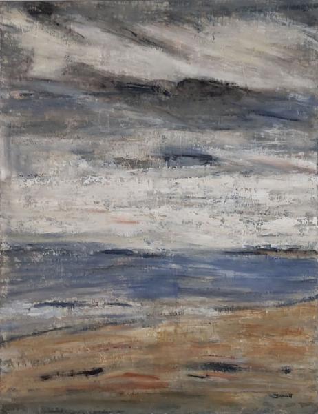 TABLEAU PEINTURE plage ciel nuages marine Marine Peinture a l'huile  - jour de brume