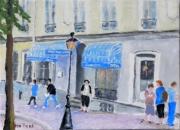 tableau scene de genre montmartre paris 18 personnages : hotel Montmartre
